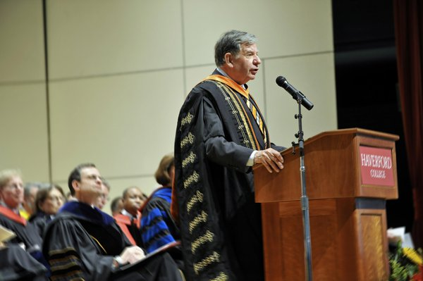 Bill Bowen speaking at Haverford College President Daniel H. Weiss' inauguration in 2013.