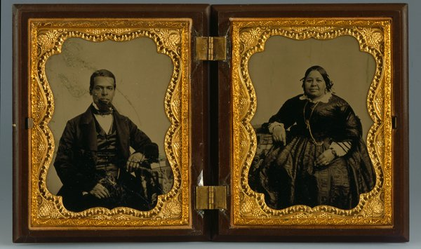 double black-and-white vintage portrait photos of a man and a woman in 19th century dress
