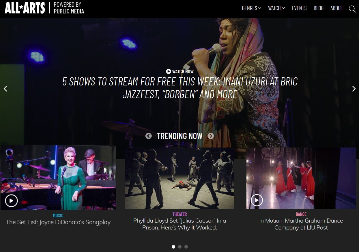 Screen shot of All Arts' home page with embedded videos.