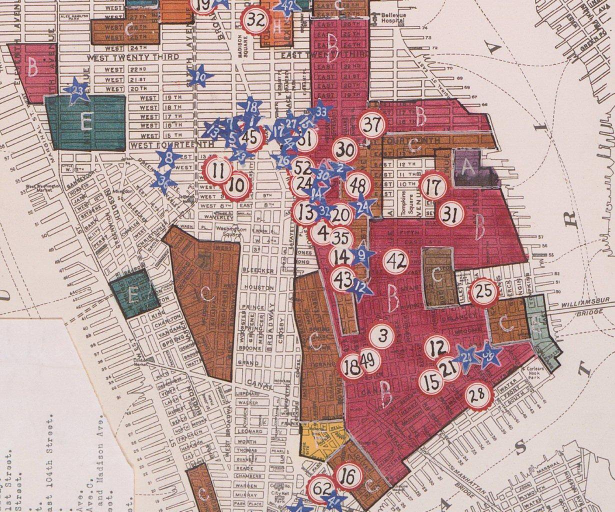 map depicting immigrant populations on Manhattan's Lower East Side